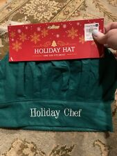 Christmas Holidays Chef Hat, Green, White Lettering one size fits all, Free Ship