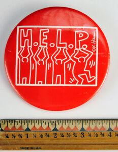 Vintage - Original LARGE 1980's Keith Haring H.E.L.P. Button - Rare!