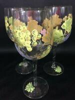 Stemmed Wine Glasses Set of 3 Handpainted Fruit Design Larger Wine Glass