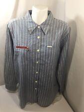 Gloria Vanderbilt men Button Up Shirt Cotton  Red Striped Light Blue Size XL