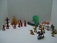 LOT OF 27 PLASTIC FIGURE: COWBOY, INDIAN AND ACCESSORIES MANY BRANDS