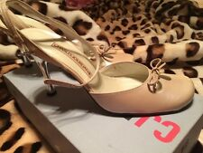 New Charles Jourdan High Heel Tan SlingBack Shoes With Ankle Strap And Bow 8.5