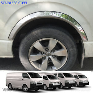 2008 - 2016 Fender Flares Wheel Arch Stainless 4Dr For Toyota Hiace Commuter Van