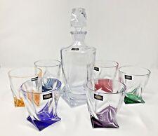 Crystal Glasses Set Whiskey Decanter 28oz & 6 Tumblers 11 oz Rainbow  Bohemian