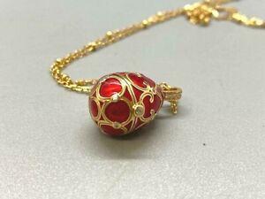 Easter Egg Pendant (locket), 925 Sterling Silver, Easter Enamel Egg, Pearl Red