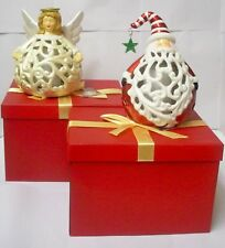 Qvc Home Reflection Angel and Santa Luminaries in Gift Boxes with Timer