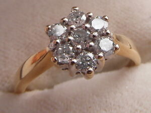 Q131 Ladies 18ct gold 0.50 carat SI1 colour H Diamond cluster engagement ring
