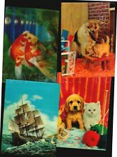 3d Lenticular postcards made in Japan Fauna cat German shepherd fish carp