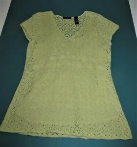 Beautiful Express Crocheted Muted Yellow Tunic with Camisole Top Size XL