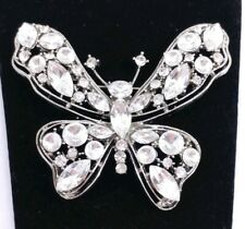 """(W) 3"""" High End Designer signed Glass Silver Tone Butterfly Bug Brooch Pin"""