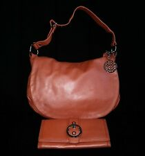 Coach Metallic TANGERINE Leather ALI Flap Hobo Tote Bag Purse Long Wallet SET