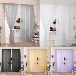 2x Voile Sheer Curtains Living Room Curtains Pair Eyelet Privacy Linen Draperies