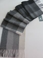 Lyle & Scott 100% cashmere scarf charcoal grey cream striped mens ladies wool