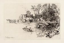 Original 1800s SEYMOUR HADEN Etching Cowdray Castle Landscape FRAMED SIGNED COA