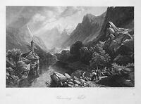 1861 Chamounythal Stresa Italien Italia Ansicht view Stahlstich steel engraving