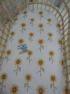 Bassinet Fitted Sheet Sunflowers 100% Cotton  FITS STANDARD BASSINET