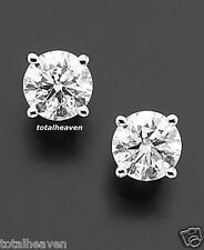 NEW 2 Carat tw 6mm Solid 14K White Gold AAA D-Flawless CZ Stud Earrings SPARKLY