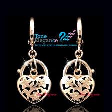 9ct 9k yellow gold GF vintage style heart padlock solid hoop dangle earrings