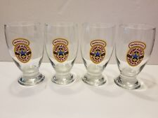 Newcastle Brown Ale 16 oz Schooner Pint Footed Glass - Set of (4) Glasses Mint!