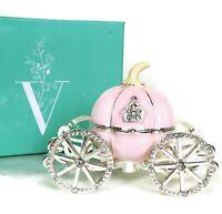 VI N VI Pink Rhinestone Princess Cinderella Crystal Pumpkin Carriage Trinket Box