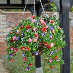 Bizzie Lizzie Artificial Flower Hanging Basket Garden Decor Indoor Outdoor