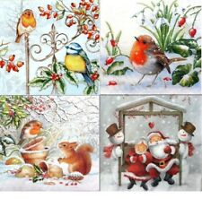 4 Vintage Table Paper Napkins for Party Lunch Decoupage Decopatch Christmas 1/2