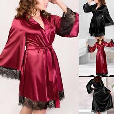 Sexy Damen Kimono Robe Morgenmantel Nachtwäsche Satin Bademantel Negligee