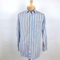 Peter Millar Mens Dress Shirt Blue Purple Striped Medium Cotton Sz M Fashion