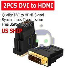 2X DVI-D Male (24+1 pin) to HDMI Female (19-pin) HD HDTV Monitor Display Adapter