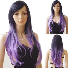 Ombre Pastel Wig Synthetic Hair Cosplay Party Wig Long Curly Pink Purple Grey t8