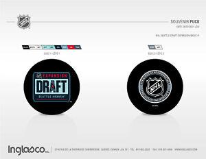 NHL Seattle Kraken Official Draft Expansion Basic Souvenir Hockey Puck InGlasco