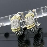 Vintage David Yurman Silver & 18K Gold Diamond Cable Shrimp Metro Hoop Earrings