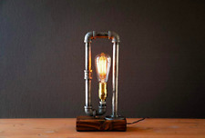 Industrial Steampunk table pipe lamp with Classic Edison bulb and weathered wood