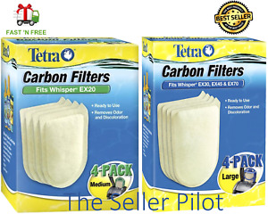 Tetra Whisper EX Power Filters -Replace Carbon Cartridges-XS/S/M/L,Ready to Use!