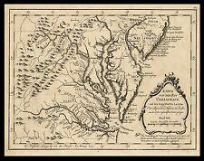 "Chesapeake Bay, Baltimore, Maryland, York River, antique,1758  MAP, 24""x18"""