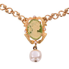 Dolce & Gabbana DESIGNER Gold Brass Pearl Floral Crystal Necklace Chain Jewelry