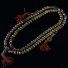 "Big Tibetan Turquoise Coral 108 Yak Bone Prayer Beads 3 Tassel Mala Necklace 34"""