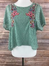 Xhilaration Juniors Green Floral Lace Short Sleeve Crop Top Size Medium