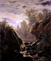 Oil painting Carl Steffeck - Moonlight landscape with brook crossing mountains