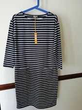 JAEGER Stunning Navy/White striped easywear  quality dress Size xs RRP £99