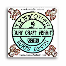 SURF STICKER DEVON, Surf permit, Surf Craft, Lynmouth, The Point, Blacklands NEW