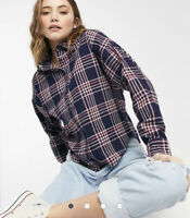 Influence Shirt Blouse Top Size XS & M 8 12 Blue Vintage Check Long Sleeve GO91