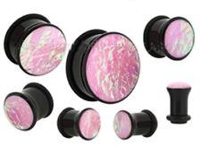 "PAIR-Foil Pink Opal Acrylic Single Flare Plugs 12mm/1/2"" Gauge Body Jewelry"