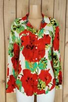 CALVIN KLEIN Womens Size Small Long Sleeve Shirt Button Down Floral Print Top