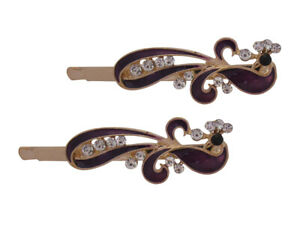 Gold Plated Crystal and Enamel Abstract Hair Grips/Hair Clips/Bobby Pins Hijab