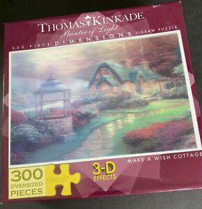 """Sealed Puzzle 3-D Thomas Kinkade 300 OVERSIZED Piece """"Make A Wish Cottage"""""""