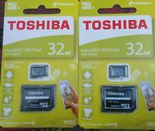 2x Toshiba M203 32GB MicroSD Card Class 10 with Adaptor *BNIB*