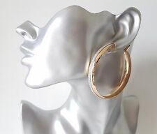 Big & fab GOLD tone & sparkly glitter CLIP ON wide hoop earrings 6cm - 2.4""