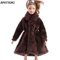Dark Brown Winter Wear Long Coat For Barbie Dolls Clothes Clothing Doll Dresses