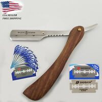 Rosewood Handle Straight Edge Barber Shaving Razor Folding Shave Knife 10 Blades